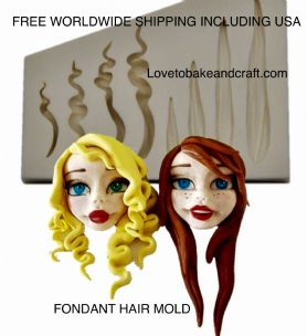 Hair Mold, Fondant hair, Sugarpaste hair, Gumpaste hair, Free worldwide shipping